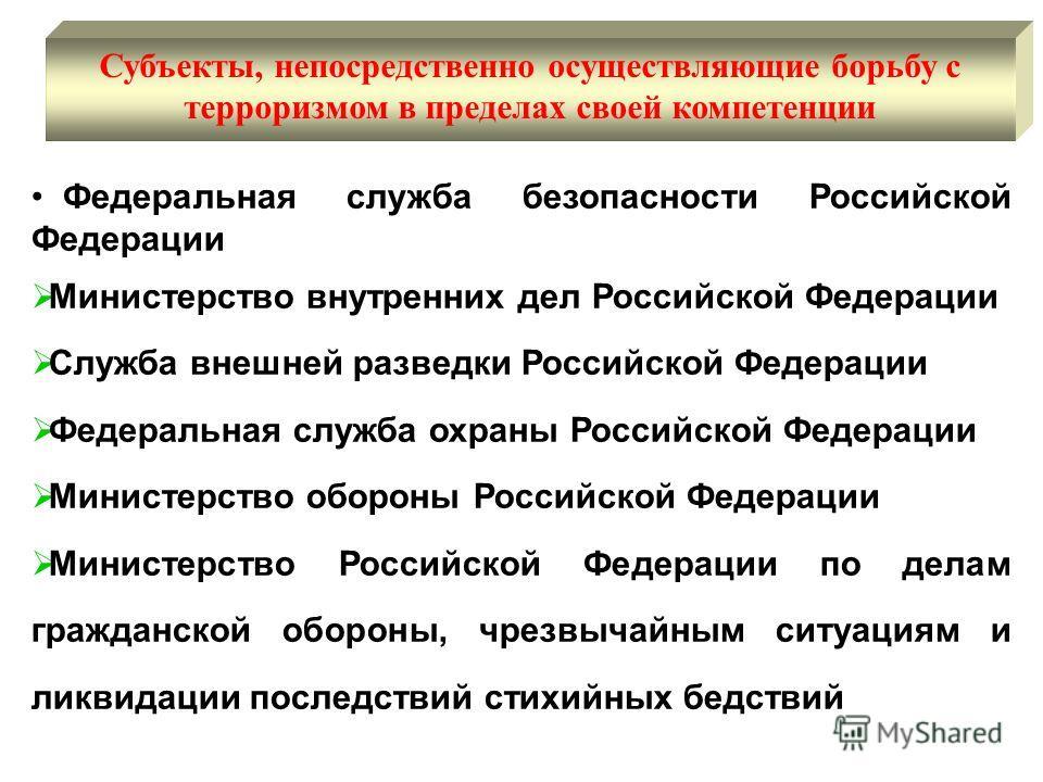 Федеральная служба безопасности Российской Федерации Министерство внутренних дел Российской Федерации Служба внешней разведки Российской Федерации Федеральная служба охраны Российской Федерации Министерство обороны Российской Федерации Министерство Р