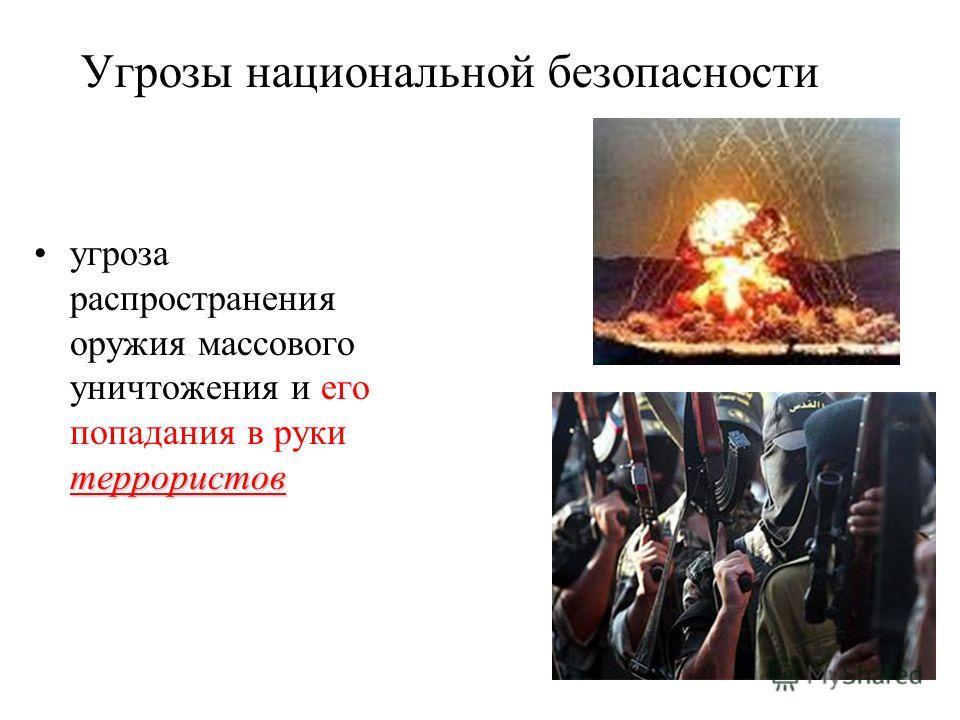 Угрозы национальной безопасности террористовугроза распространения оружия массового уничтожения и его попадания в руки террористов