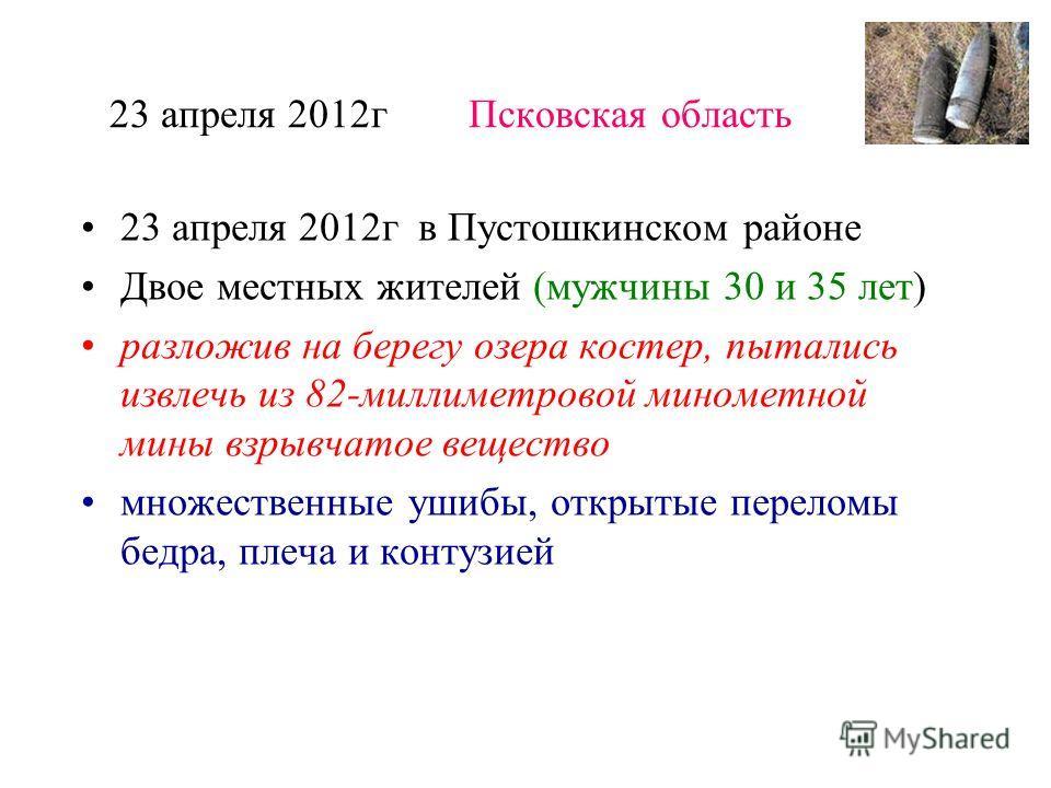 23 апреля 2012 г Псковская область 23 апреля 2012 г в Пустошкинском районе Двое местных жителей (мужчины 30 и 35 лет) разложив на берегу озера костер, пытались извлечь из 82-миллиметровой минометной мины взрывчатое вещество множественные ушибы, откры