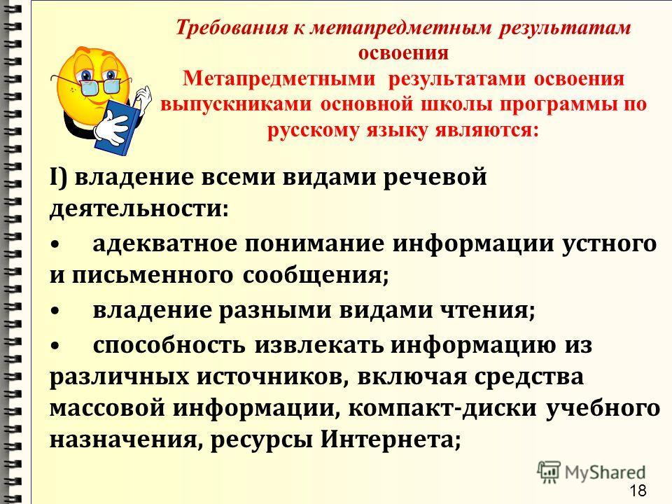 Требования к метапредметным результатам освоения Метапредметными результатами освоения выпускниками основной школы программы по русскому языку являются: I) владение всеми видами речевой деятельности: адекватное понимание информации устного и письменн