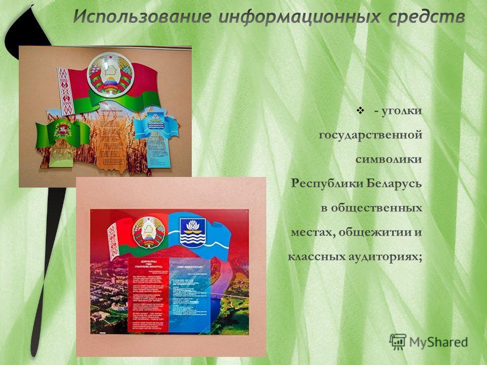 - уголки государственной символики Республики Беларусь в общественных местах, общежитии и классных аудиториях;