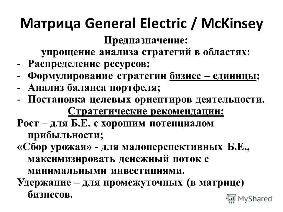 Матрица General Electric / McKinsey Предназначение: упрощение анализа стратегий в областях: -Распределение ресурсов; -Формулирование стратегии бизнес – единицы; -Анализ баланса портфеля; -Постановка целевых ориентиров деятельности. Стратегические рек