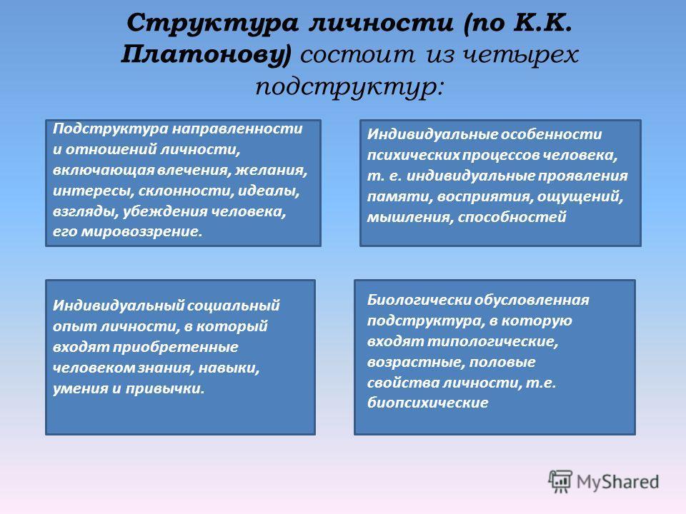 Структура личности (по К.К. Платонову) состоит из четырех подструктур: Подструктура направленности и отношений личности, включающая влечения, желания, интересы, склонности, идеалы, взгляды, убеждения человека, его мировоззрение. Индивидуальный социа