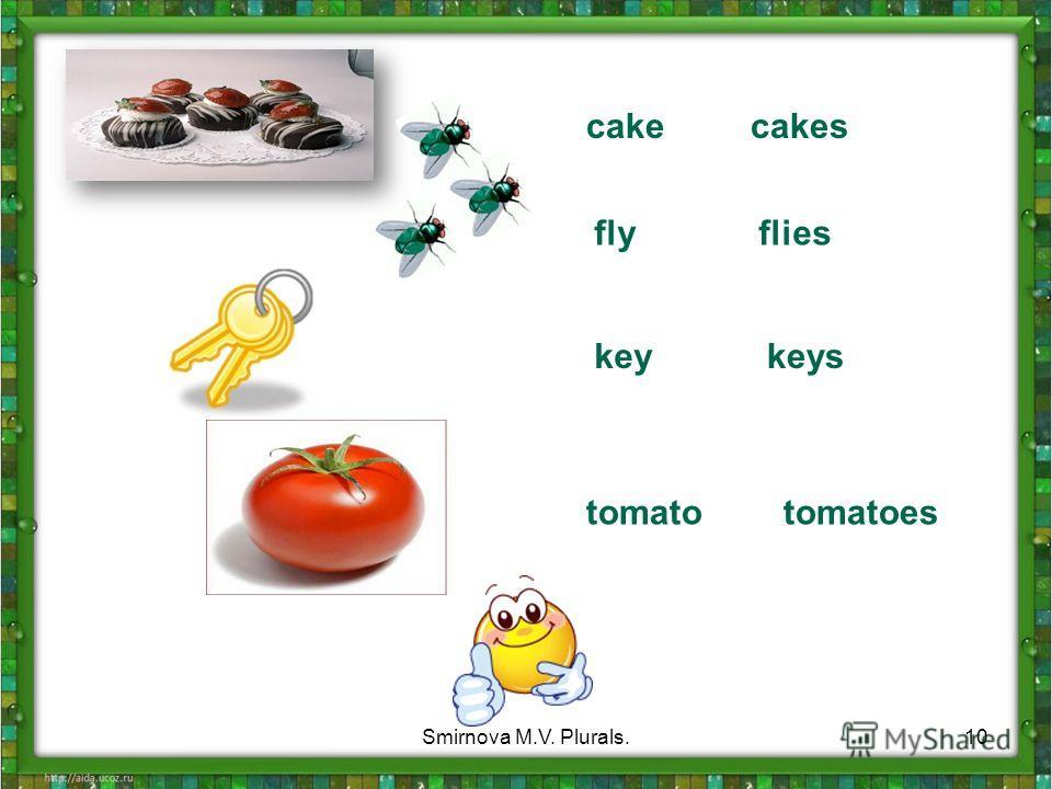 cake cakes fly flies key keys tomato tomatoes 10Smirnova M.V. Plurals.