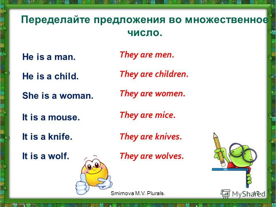 Переделайте предложения во множественное число. He is a man. He is a child. She is a woman. It is a mouse. It is a knife. It is a wolf. They are men. They are children. They are women. They are mice.. They are knives. They are wolves. 17Smirnova M.V.