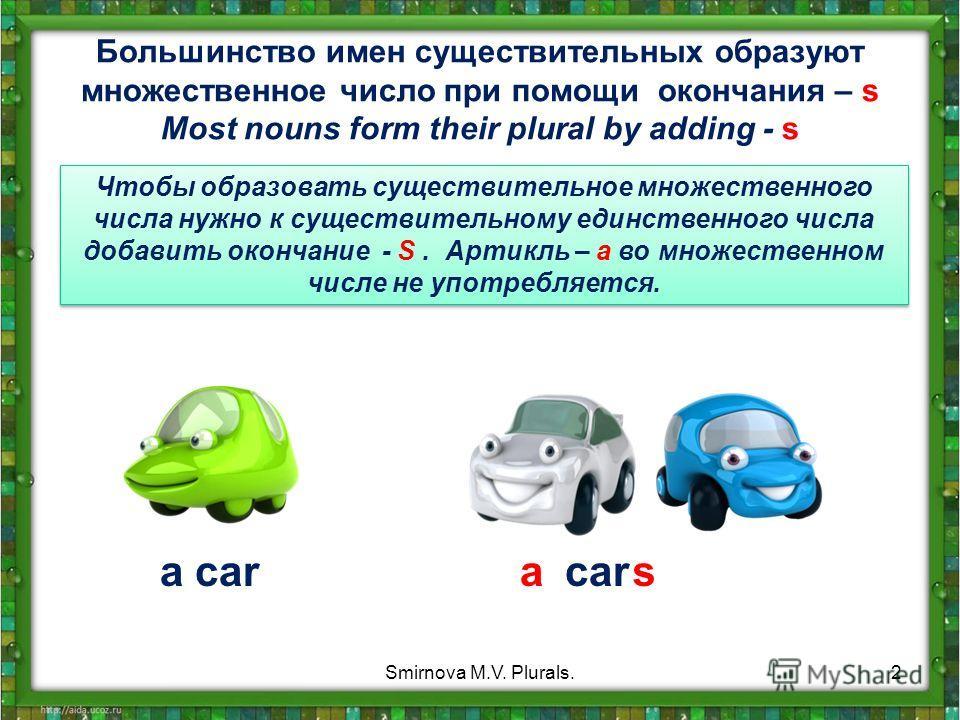Большинство имен существительных образуют множественное число при помощи окончания – s Most nouns form their plural by adding - s Чтобы образовать существительное множественного числа нужно к существительному единственного числа добавить окончание -