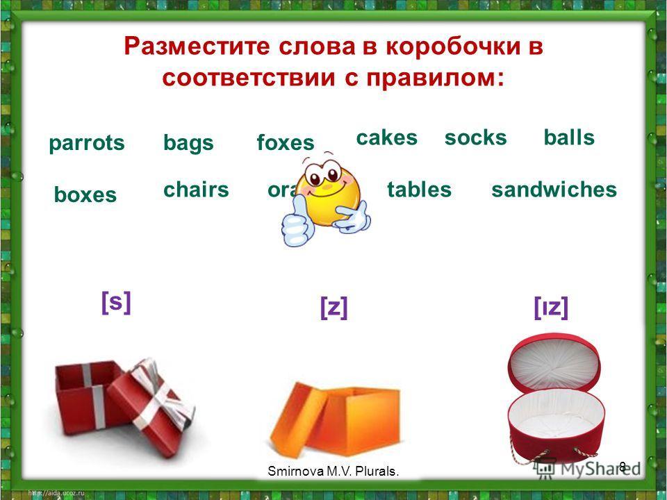 Разместите слова в коробочки в соответствии с правилом: parrots [s] [z][ız] bagsfoxes cakes boxes chairsorangestables socks sandwiches balls 8 Smirnova M.V. Plurals.
