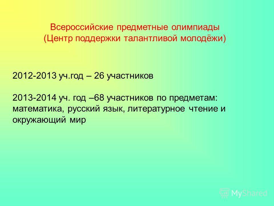 2012-2013 уч.год – 26 участников 2013-2014 уч. год –68 участников по предметам: математика, русский язык, литературное чтение и окружающий мир Всероссийские предметные олимпиады (Центр поддержки талантливой молодёжи)