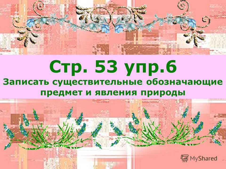 Стр. 53 упр.6 Записать существительные обозначающие предмет и явления природы