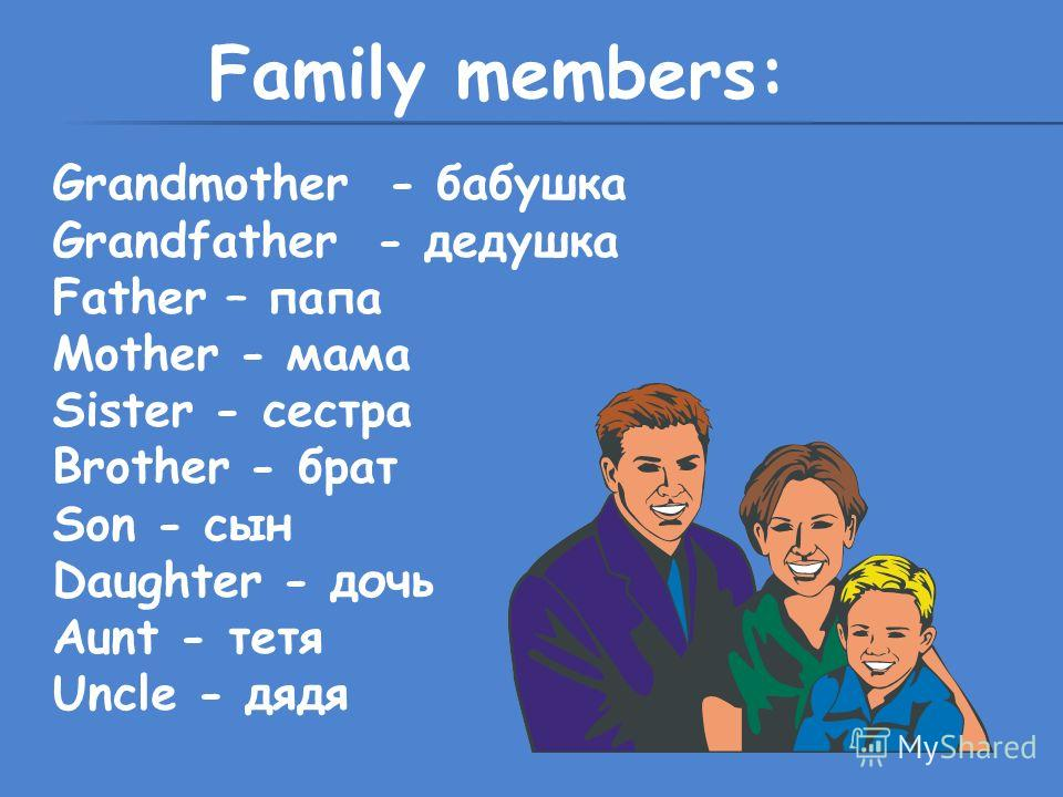 Family members: Grandmother - бабушка Grandfather - дедушка Father – папа Mother - мама Sister - сестра Brother - брат Son - сын Daughter - дочь Aunt - тетя Uncle - дядя