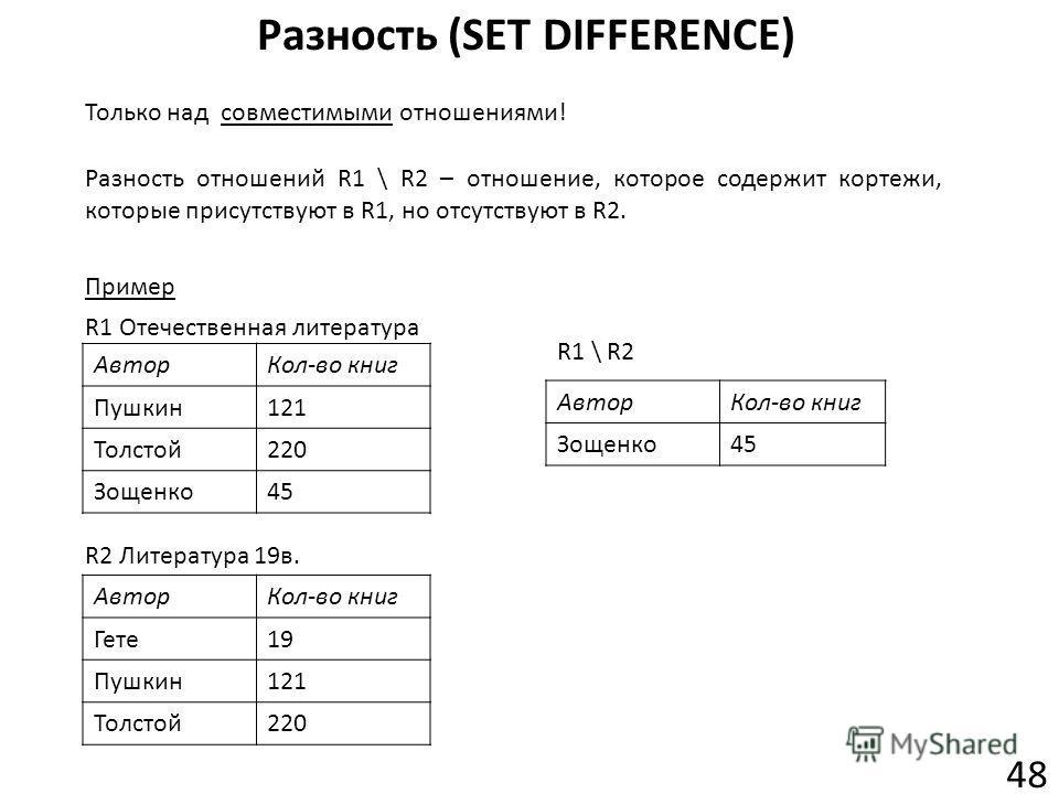 Разность (SET DIFFERENCE) 48 Разность отношений R1 \ R2 – отношение, которое содержит кортежи, которые присутствуют в R1, но отсутствуют в R2. Только над совместимыми отношениями! Пример Автор Кол-во книг Пушкин 121 Толстой 220 Зощенко 45 R1 Отечеств