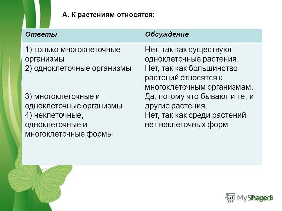 Free Powerpoint TemplatesPage 6 А. К растениям относятся:. Ответы Обсуждение 1) только многоклеточные организмы 2) одноклеточные организмы 3) многоклеточные и одноклеточные организмы 4) неклеточные, одноклеточные и многоклеточные формы Нет, так как с