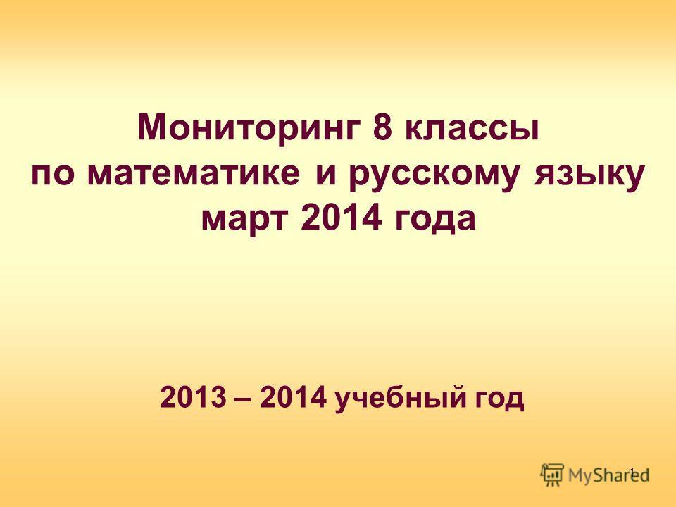 Мониторинг 8 классы по математике и русскому языку март 2014 года 2013 – 2014 учебный год 1