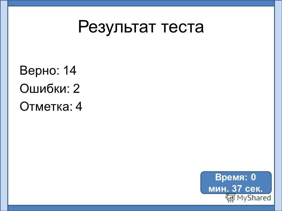 Результат теста Верно: 14 Ошибки: 2 Отметка: 4 Время: 0 мин. 37 сек.