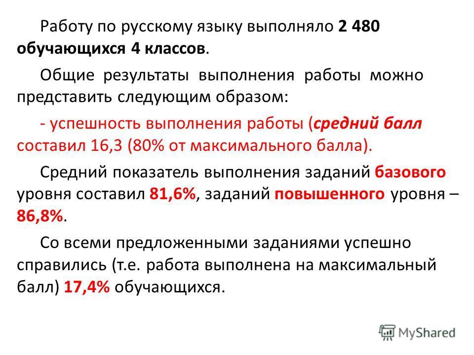Работу по русскому языку выполняло 2 480 обучающихся 4 классов. Общие результаты выполнения работы можно представить следующим образом: - успешность выполнения работы (средний балл составил 16,3 (80% от максимального балла). Средний показатель выполн