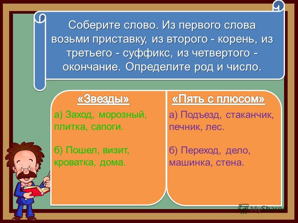 Соберите слово. Из первого слова возьми приставку, из второго - корень, из третьего - суффикс, из четвертого - окончание. Определите род и число. а) Заход, морозный, плитка, сапоги. б) Пошел, визит, кроватка, дома. а) Подъезд, стаканчик, печник, лес.