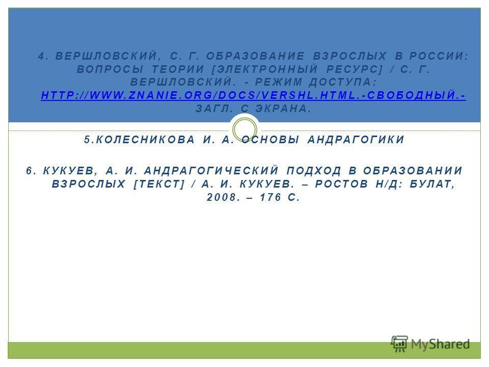 1. 4. ВЕРШЛОВСКИЙ, С. Г. ОБРАЗОВАНИЕ ВЗРОСЛЫХ В РОССИИ: ВОПРОСЫ ТЕОРИИ [ЭЛЕКТРОННЫЙ РЕСУРС] / С. Г. ВЕРШЛОВСКИЙ. - РЕЖИМ ДОСТУПА: HTTP://WWW.ZNANIE.ORG/DOCS/VERSHL.HTML.-СВОБОДНЫЙ.- ЗАГЛ. С ЭКРАНА. HTTP://WWW.ZNANIE.ORG/DOCS/VERSHL.HTML.-СВОБОДНЫЙ.-