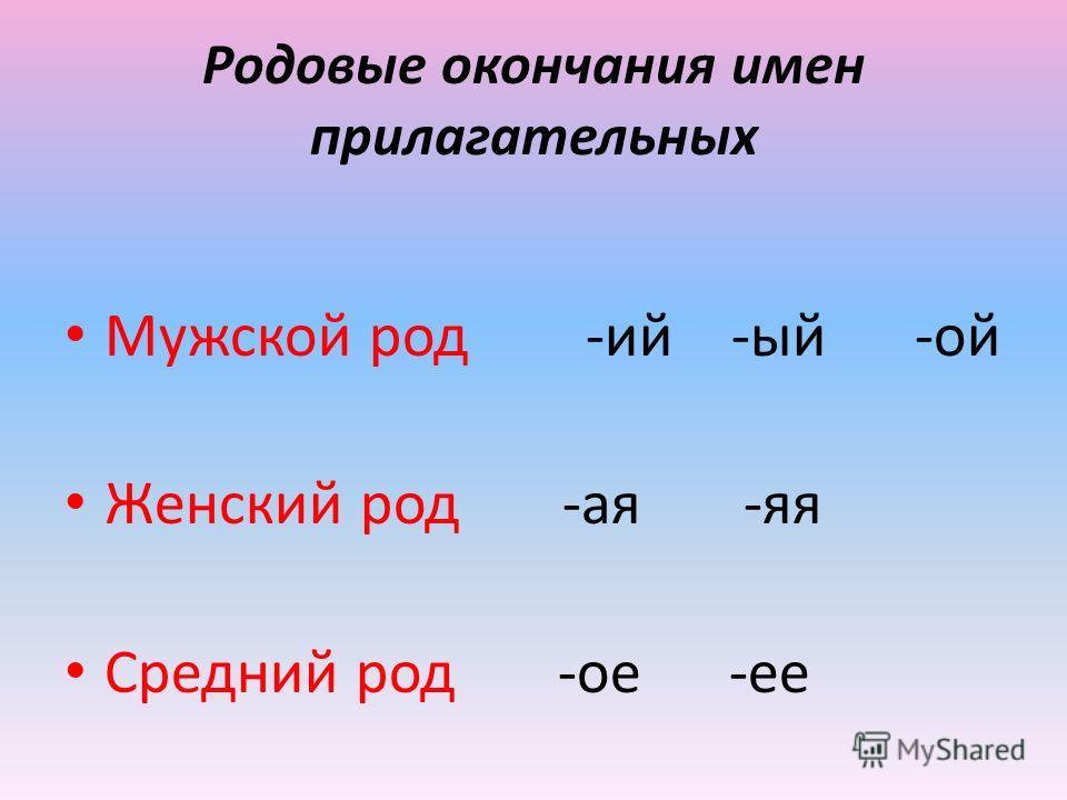 Родовые окончания имен прилагательных Мужской род -ий -ый -ой Женский род -ая -яя Средний род -ое -ее
