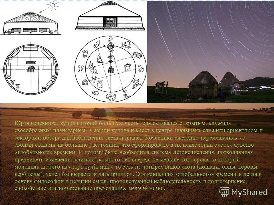 Юрта кочевника, купол которой большую часть года оставался открытым, служила своеобразным планетарием, а жерди купола и крест в центре шанырака служили ориентиром и секторами обзора для наблюдения звезд и планет. Кочевники ежегодно перемещались со св