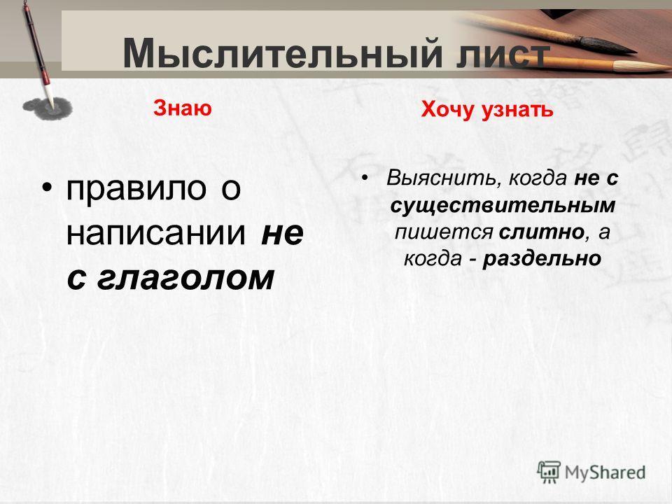 Мыслительный лист Знаю правило о написании не с глаголом Хочу узнать Выяснить, когда не с существительным пишется слитно, а когда - раздельно