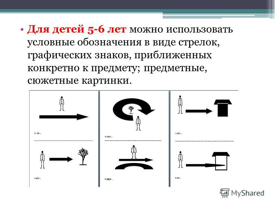 Для детей 5-6 лет можно использовать условные обозначения в виде стрелок, графических знаков, приближенных конкретно к предмету; предметные, сюжетные картинки.