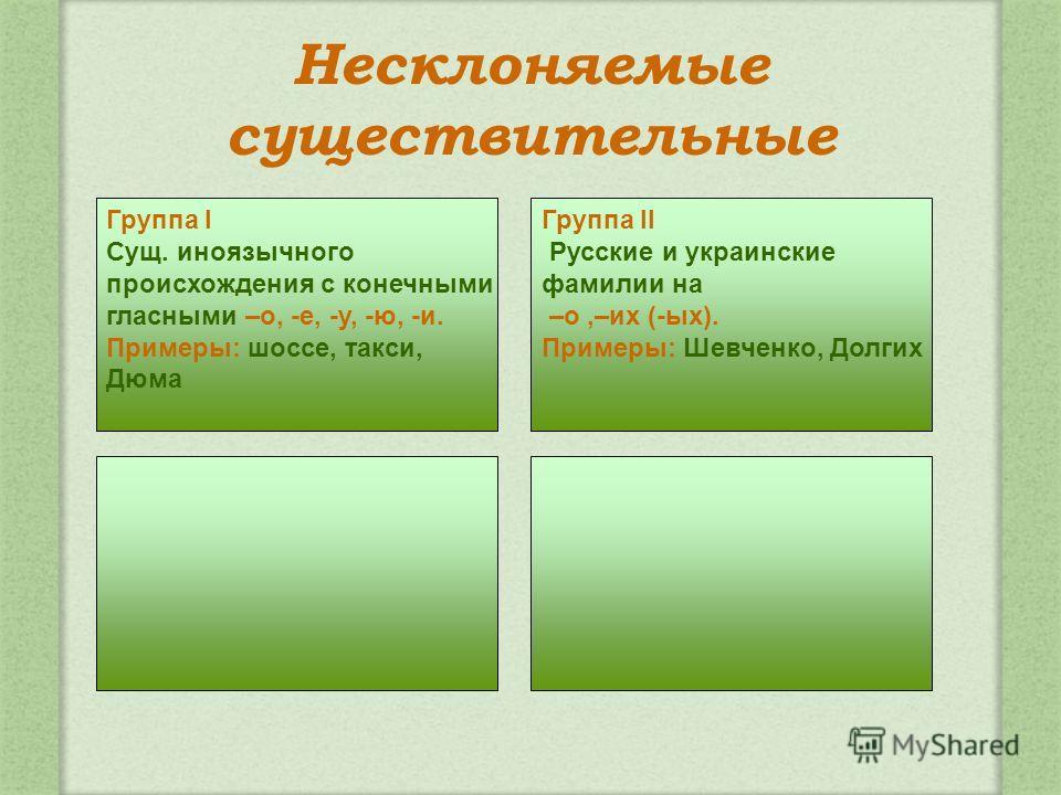 Несклоняемые существительные Группа II Русские и украинские фамилии на –о,–их (-ых). Примеры: Шевченко, Долгих Группа I Сущ. иноязычного происхождения с конечными гласными –о, -е, -у, -ю, -и. Примеры: шоссе, такси, Дюма