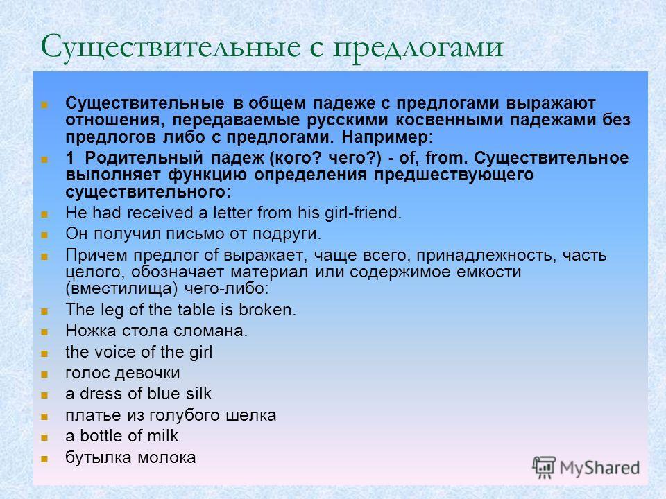 Существительные с предлогами Существительные в общем падеже с предлогами выражают отношения, передаваемые русскими косвенными падежами без предлогов либо с предлогами. Например: 1 Родительный падеж (кого? чего?) - of, from. Существительное выполняет