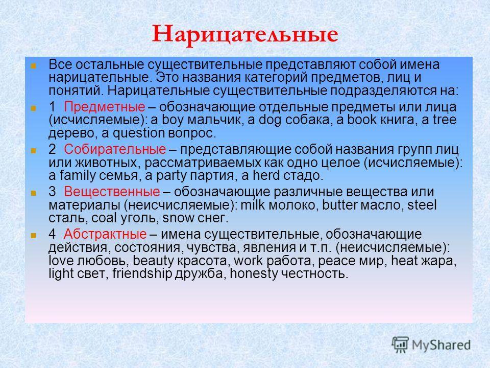 Нарлицательные Все остальные существительные представляют собой имена нарлицательные. Это названия категорий предметов, лиц и понятий. Нарлицательные существительные подразделяются на: 1 Предметные – обозначающие отдельные предметы или ллица (исчисля