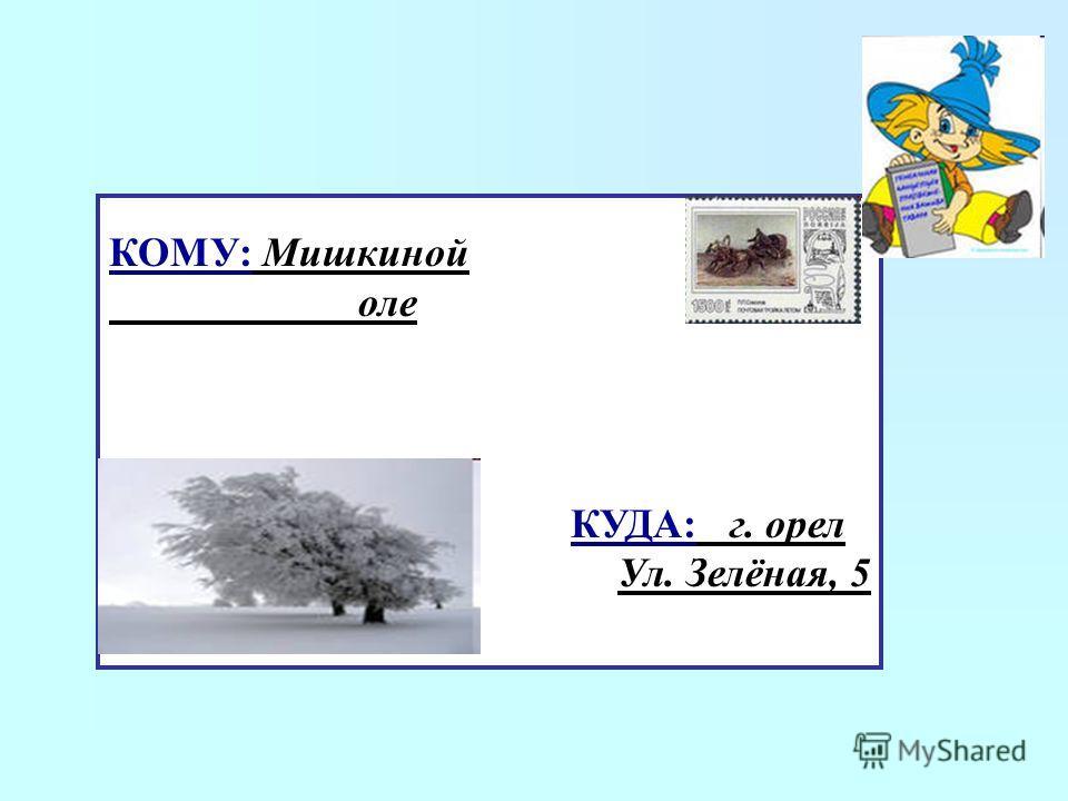 КОМУ: Мишкиной оле КУДА: г. орел Ул. Зелёная, 5