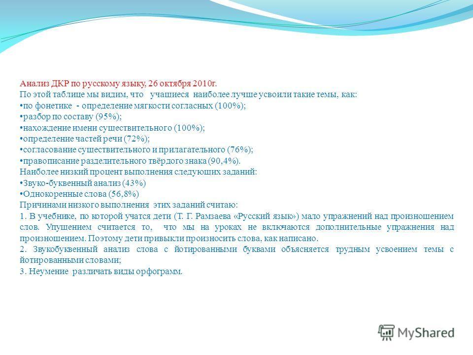 Анализ ДКР по русскому языку, 26 октября 2010 г. По этой таблице мы видим, что учащиеся наиболее лучше усвоили такие темы, как: по фонетике - определение мягкости согласных (100%); разбор по составу (95%); нахождение имени существительного (100%); оп