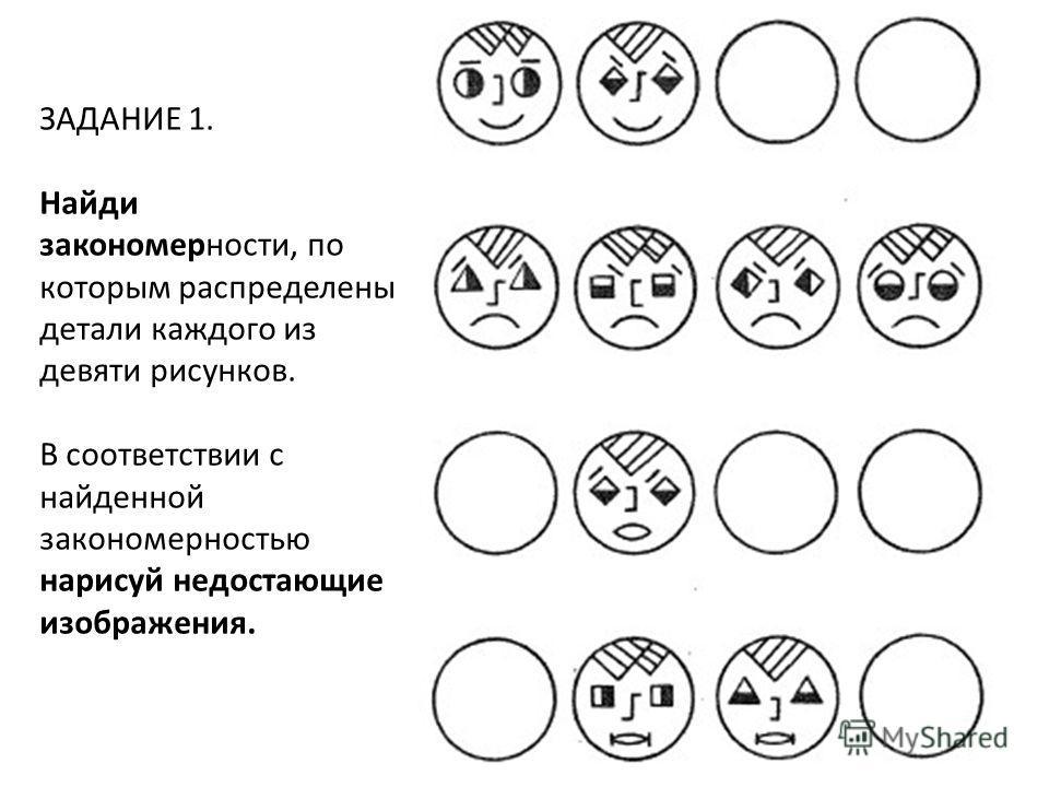 ЗАДАНИЕ 1. Найди закономерности, по которым распределены детали каждого из девяти рисунков. В соответствии с найденной закономерностью нарисуй недостающие изображения.