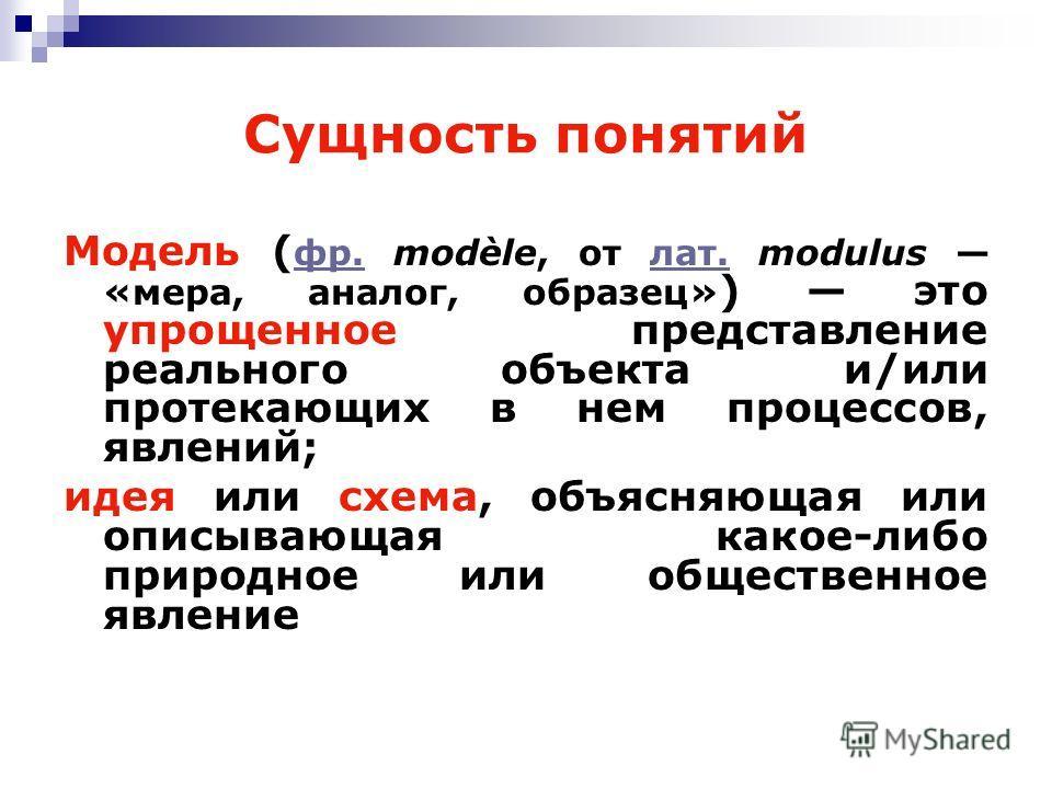 Сущность понятий Модель ( фр. modèle, от лат. modulus «мера, аналог, образец» ) это упрощенное представление реального объекта и/или протекающих в нем процессов, явлений; фр.лат. идея или схема, объясняющая или описывающая какое-либо природное или об