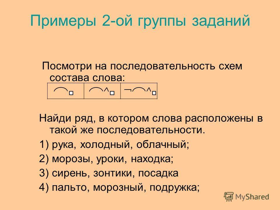 Примеры 2-ой группы заданий Посмотри на последовательность схем состава слова: Найди ряд, в котором слова расположены в такой же последовательности. 1) рука, холодный, облачный; 2) морозы, уроки, находка; 3) сирень, зонтики, посадка 4) пальто, морозн
