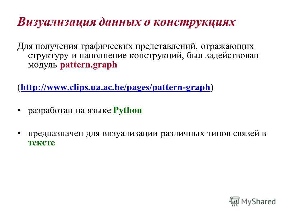 Визуализация данных о конструкциях Для получения графических представлений, отражающих структуру и наполнение конструкций, был задействован модуль pattern.graph (http://www.clips.ua.ac.be/pages/pattern-graph) разработан на языке Python предназначен д