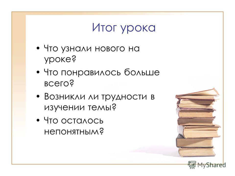Итог урока Что узнали нового на уроке? Что понравилось больше всего? Возникли ли трудности в изучении темы? Что осталось непонятным?