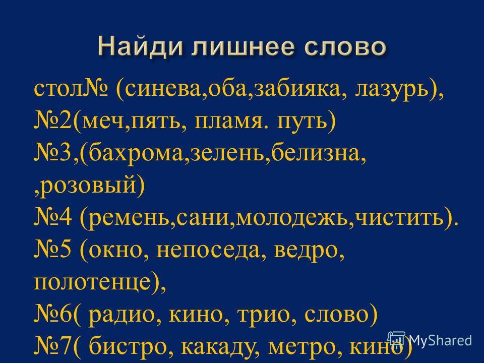 стол (синева,оба,забияка, лазурь), 2(меч,пять, пламя. путь) 3,(бахрома,зелень,белизна,,розовый) 4 (ремень,сани,молодежь,чистить). 5 (окно, непоседа, ведро, полотенце), 6( радио, кино, трио, слово) 7( бистро, какаду, метро, кино)