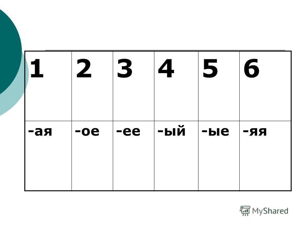 123456 -ая-ое-ее-ый-ые-яя