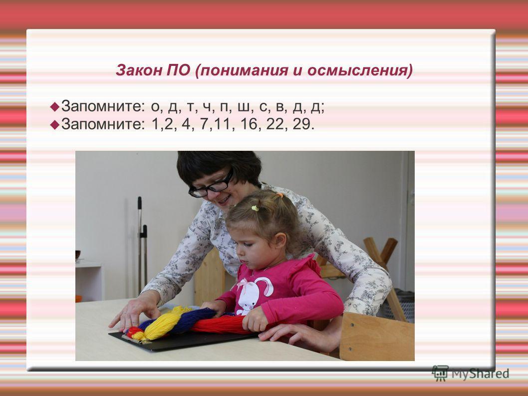 Закон ПО (понимания и осмысления) Запомните: о, д, т, ч, п, ш, с, в, д, д; Запомните: 1,2, 4, 7,11, 16, 22, 29.