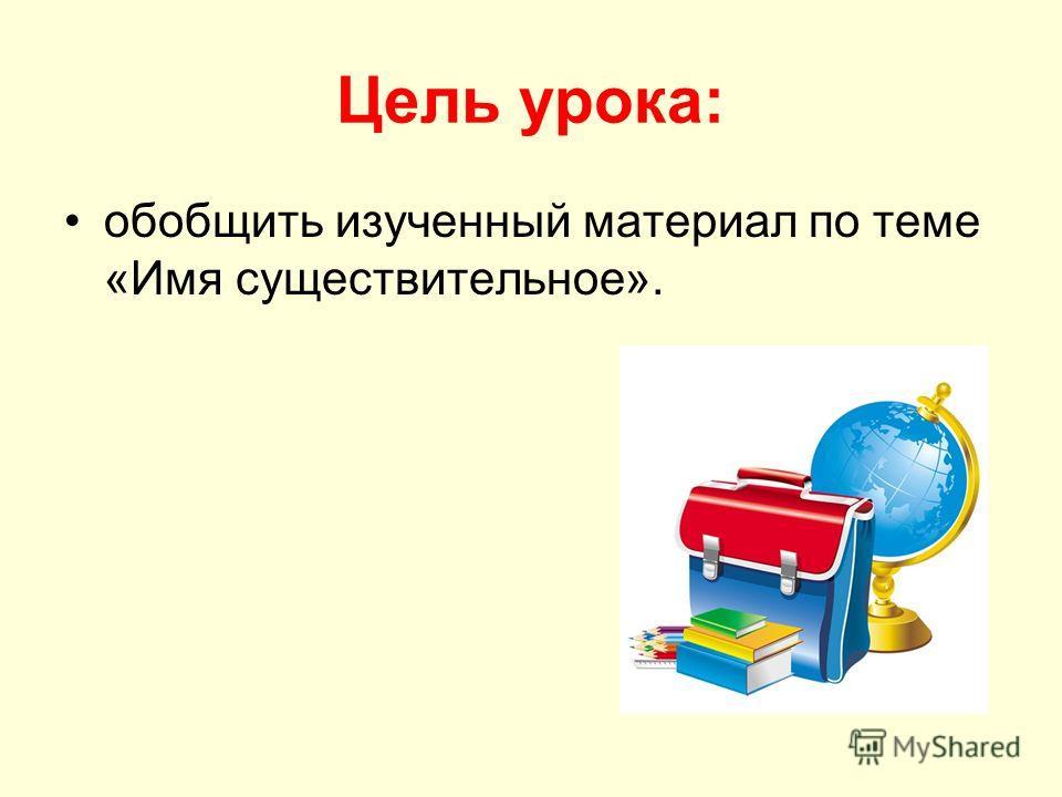 Цель урока: обобщить изученный материал по теме «Имя существительное».