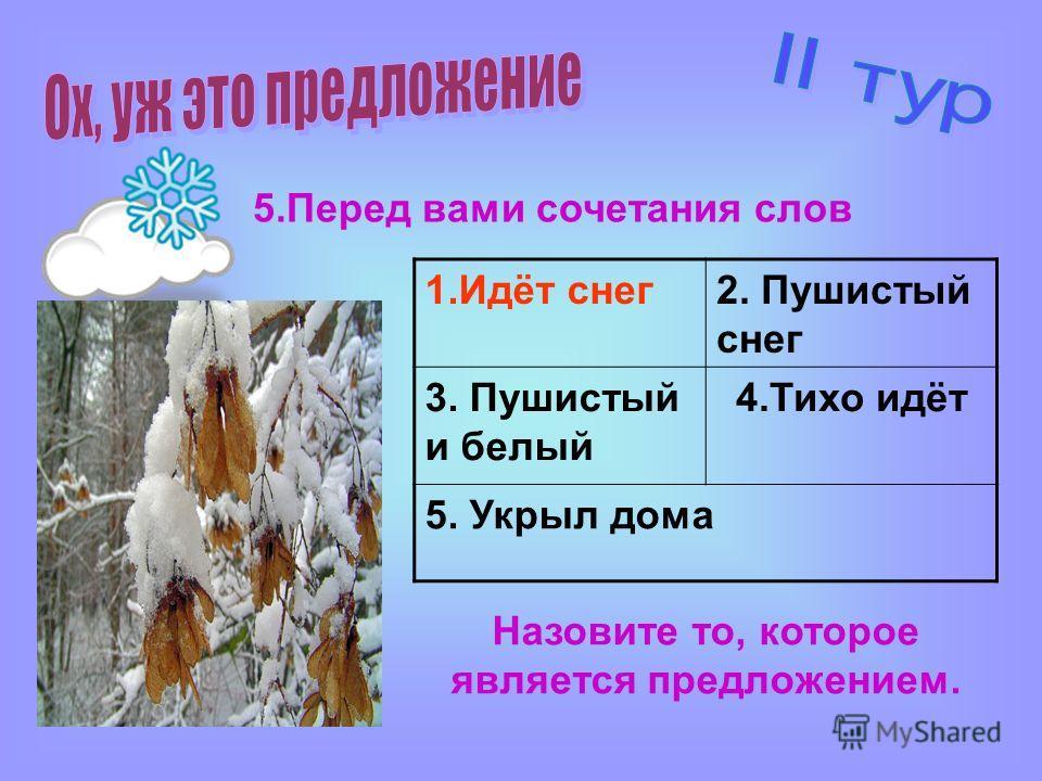 5. Перед вами сочетания слов 1.Идёт снег 2. Пушистый снег 3. Пушистый и белый 4. Тихо идёт 5. Укрыл дома Назовите то, которое является предложением.