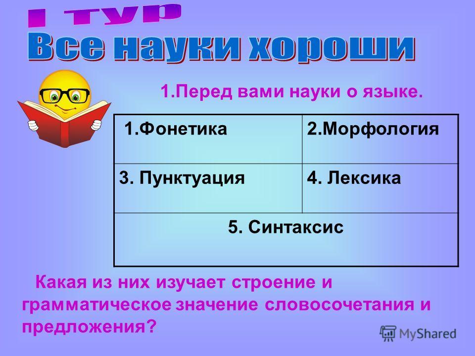 1.Фонетика 2. Морфология 3. Пунктуация 4. Лексика 5. Синтаксис 1. Перед вами науки о языке. Какая из них изучает строение и грамматическое значение словосочетания и предложения?