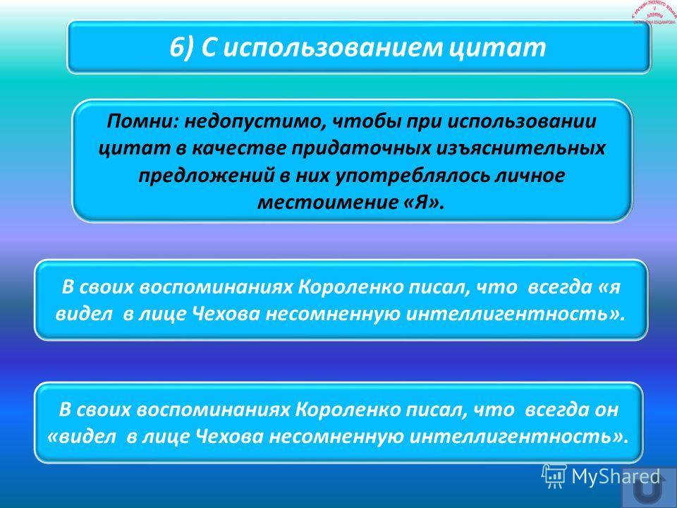 В своих воспоминаниях Короленко писал, что всегда он «видел в лице Чехова несомненную интеллигентность». В своих воспоминаниях Короленко писал, что всегда «я видел в лице Чехова несомненную интеллигентность». Помни: недопустимо, чтобы при использован