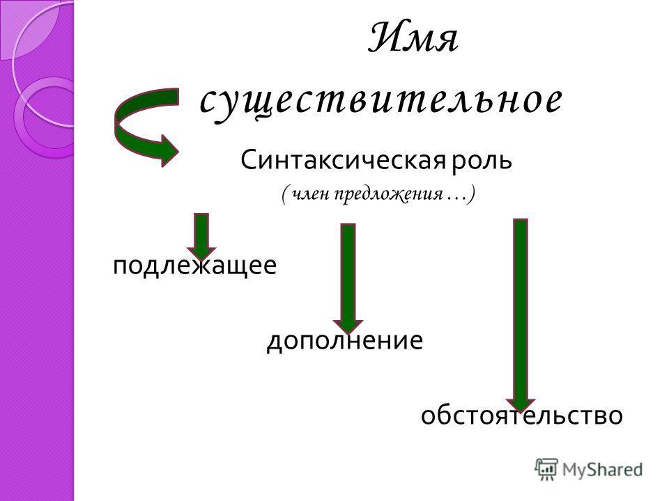 Имя существительное Синтаксическая роль ( член предложения …) подлежащее дополнение обстоятельство