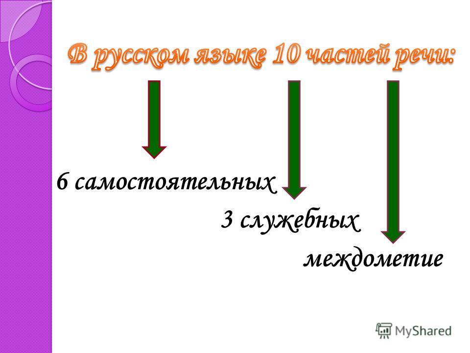 6 самостоятельных 3 служебных междометие