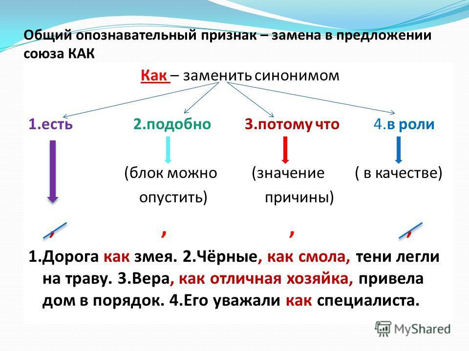 Общий опознавательный признак – замена в предложении союза КАК Как – заменить синонимом 1. есть 2. подобно 3. потому что 4. в роли (былок можно (значение ( в качестве) опустоить) причины),,,, 1. Дорога как змея. 2.Чёрные, как смола, тени легли на тра