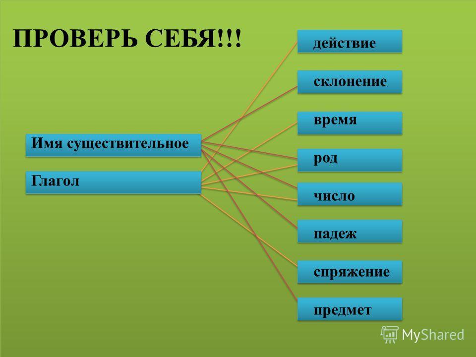 Имя существительное Глагол действие склонение время род число падеж спряжение предмет