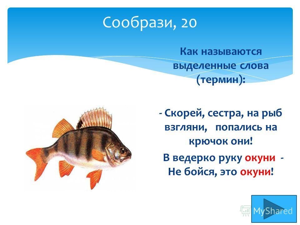 Сообрази, 20 Как называются выделенные слова (термин): - Скорей, сестра, на рыб взгляни, попались на крючок они! В ведерко руку окуни - Не бойся, это окуни!