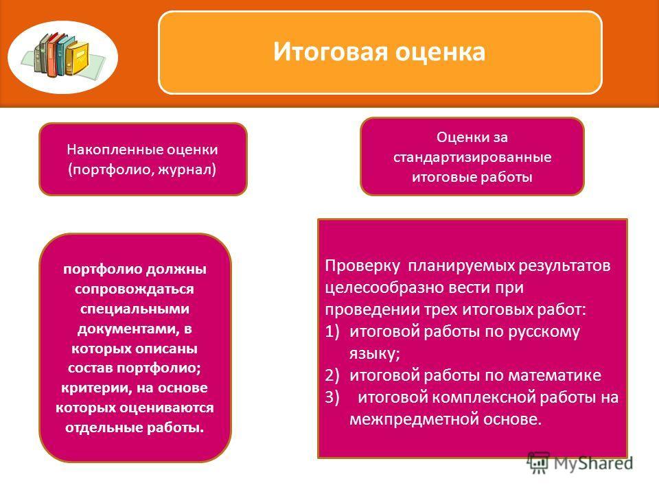 Проверку планируемых результатов целесообразно вести при проведении трех итоговых работ: 1)итоговой работы по русскому языку; 2)итоговой работы по математике 3) итоговой комплексной работы на межпредметной основе. Итоговая оценка Накопленные оценки (