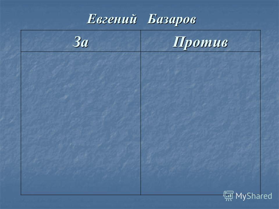 Евгений Базаров За Против