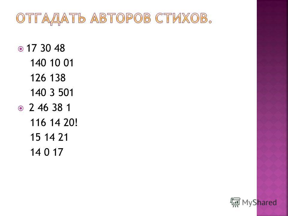 17 30 48 140 10 01 126 138 140 3 501 2 46 38 1 116 14 20! 15 14 21 14 0 17